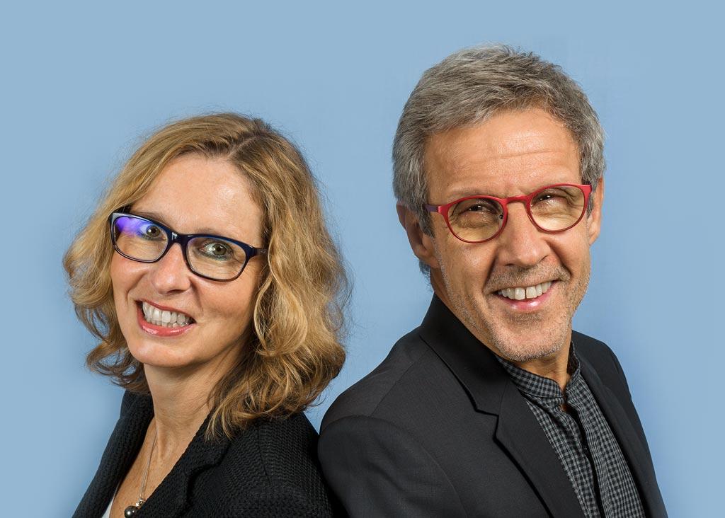 Die Inhaber Anne und Lukas Schnurr von Optik Schnurr.